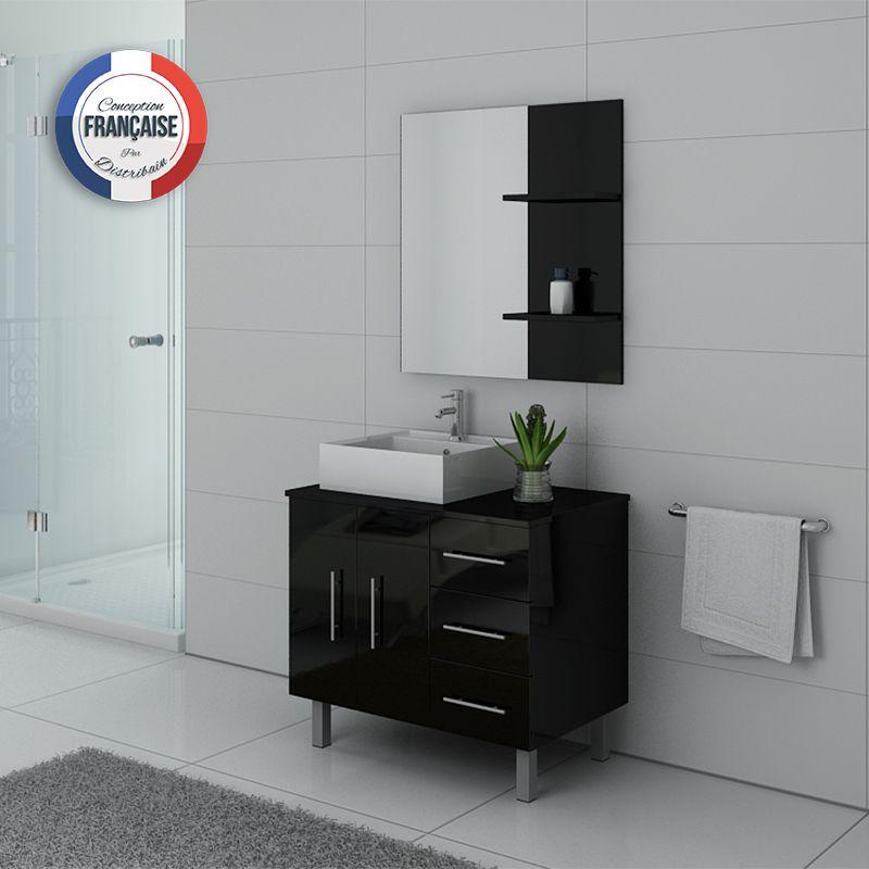 Meuble salle de bain noir laqué FLORENCE