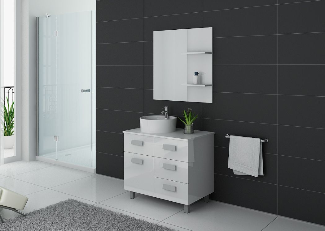 Meuble de salle de bain simple vasque ref milan b - Meuble sdb simple vasque ...
