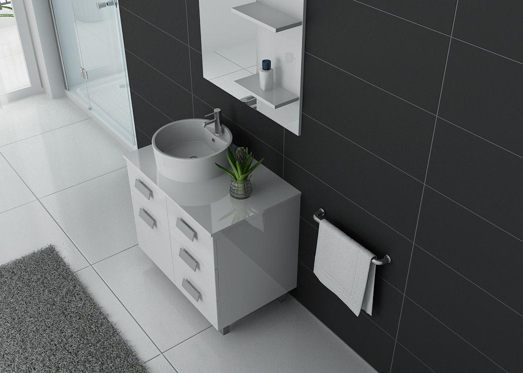 Meuble de salle de bain simple vasque ref milan b - Meuble vasque blanc ...
