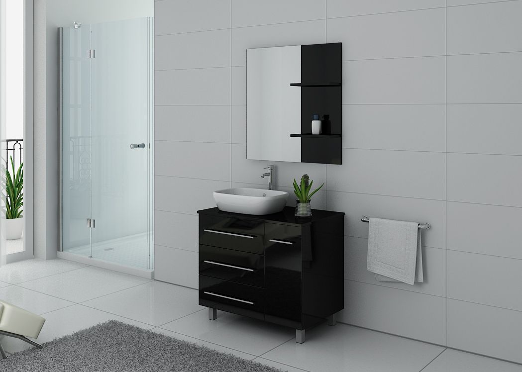 meuble de salle de bain simple vasque meuble 1 vasque noir laqu ref toscane n. Black Bedroom Furniture Sets. Home Design Ideas