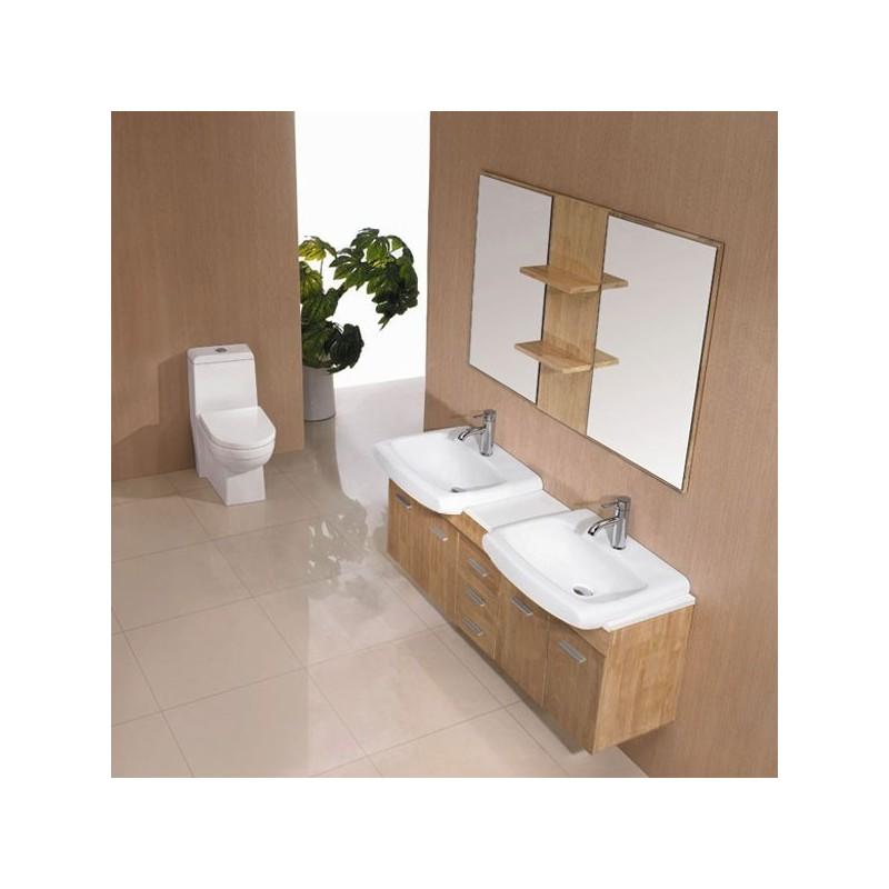 meuble salle de bain de luxe en bois massif ref sd693bn coloris bois naturel. Black Bedroom Furniture Sets. Home Design Ideas