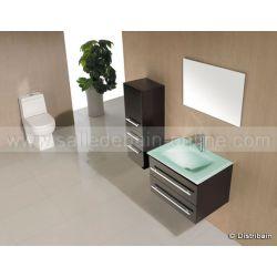 Meuble salle de bain simple vasque complet SD932W coloris wengé