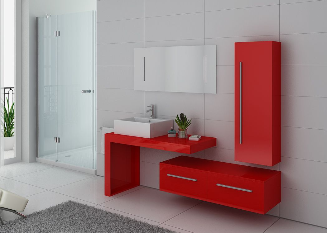 meuble de salle de bain rouge coquelicot meuble de salle. Black Bedroom Furniture Sets. Home Design Ideas