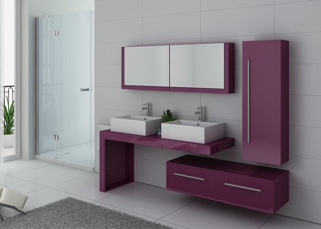 Meuble de salle de bain couleur aubergine dis9350au - Meuble de salle de bain aubergine ...