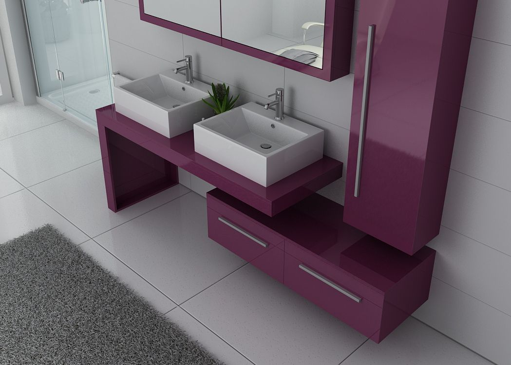meuble de salle de bain couleur aubergine dis9350au meuble 2 vasques aubergine. Black Bedroom Furniture Sets. Home Design Ideas