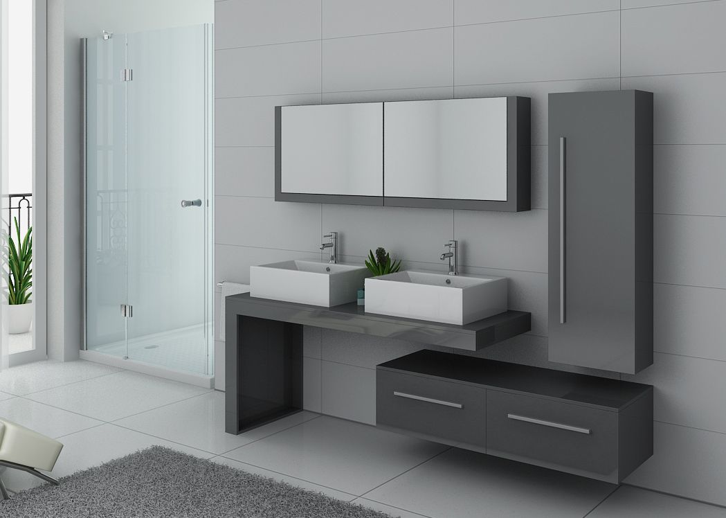 meuble de salle de bain gris taupe double vasque meuble de salle de bain gris taupe ref dis9350gt. Black Bedroom Furniture Sets. Home Design Ideas