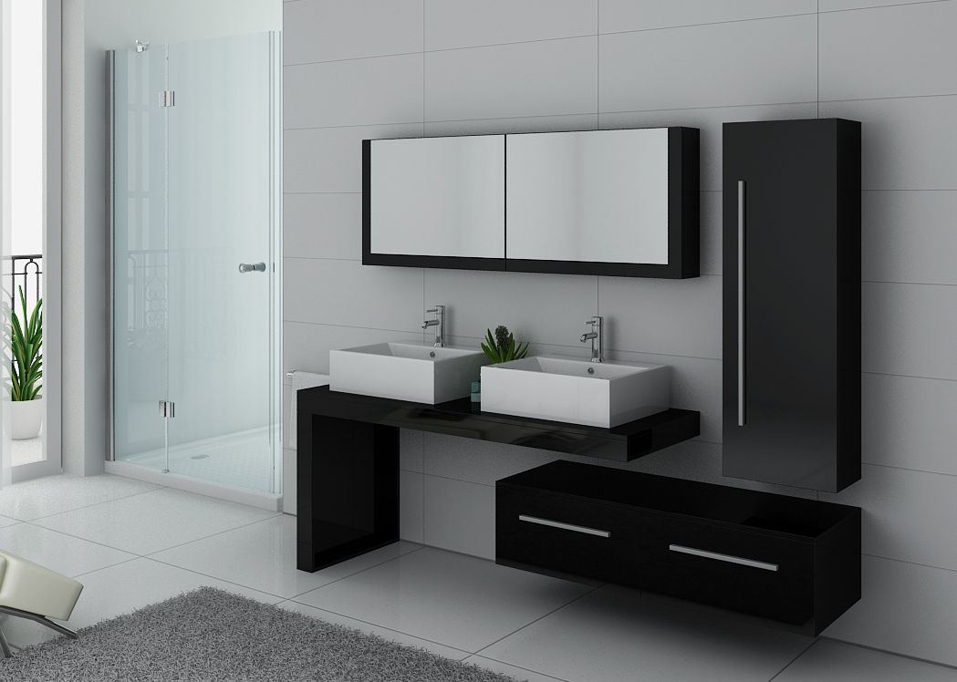 meuble de salle de bain noir laqu 2 vasques meuble de salle de bain noir laqu ref dis9350n. Black Bedroom Furniture Sets. Home Design Ideas