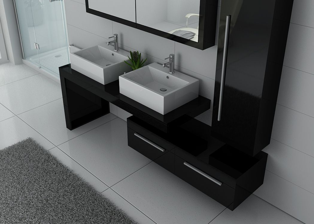 meuble de salle de bain double vasque noir laqu meuble. Black Bedroom Furniture Sets. Home Design Ideas
