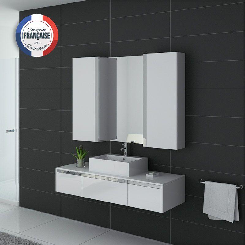 Meuble salle de bain DIS9650B Blanc laqué