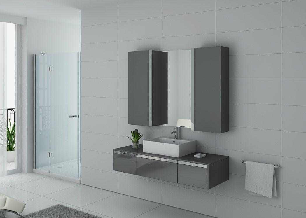 Meuble salle de bain ref dis9650gt for Colonne de salle de bain gris laque