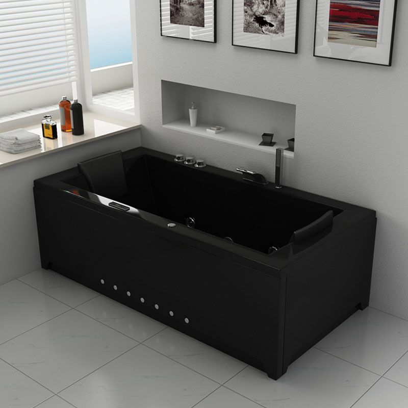 Baignoire baln o rectangulaire london black for Baignoire balneo rectangulaire