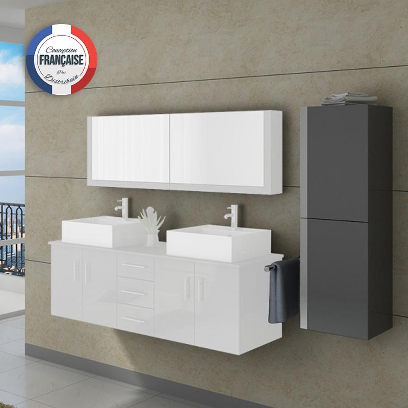 Colonne de rangement salle de bain grise COL991GT