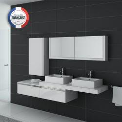 Meuble double vasque salle de bain DIS9551B blanc