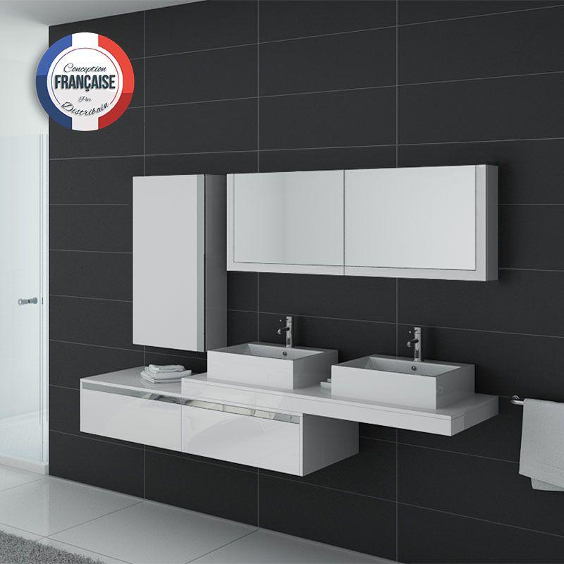 meuble double vasque salle de bain dis9551b blanc - Meuble De Salle De Bain Blanc Laqu