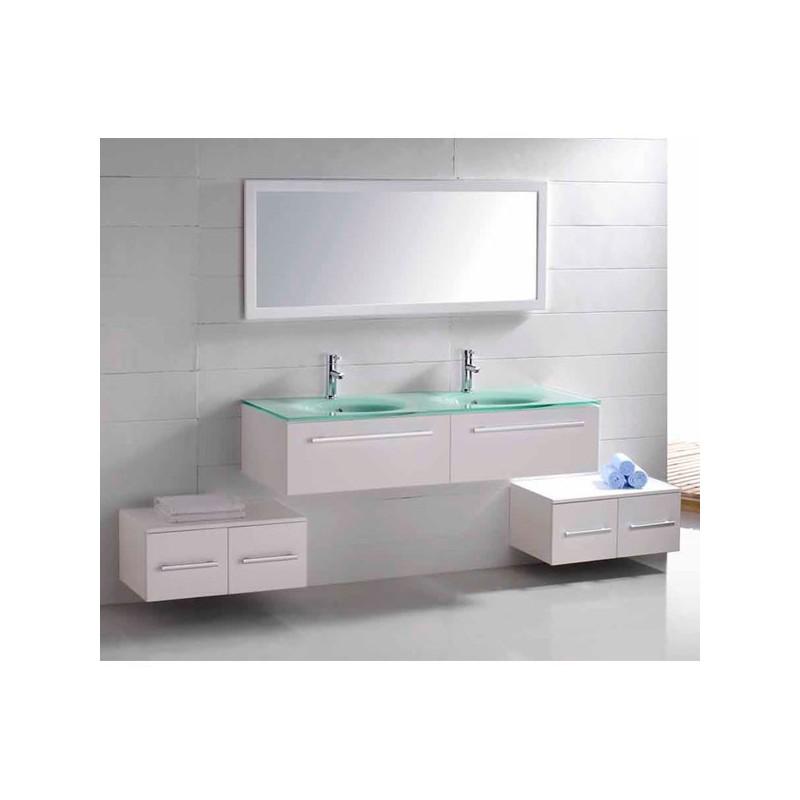 Meuble salle de bain de luxe en bois massif ref sd682 2b for Meuble salle de bain bois massif blanc
