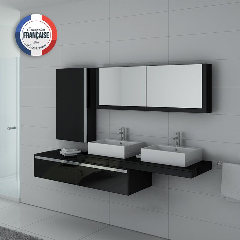 Meuble salle de bain ref dis9551n - Ensemble salle de bain double vasque ...