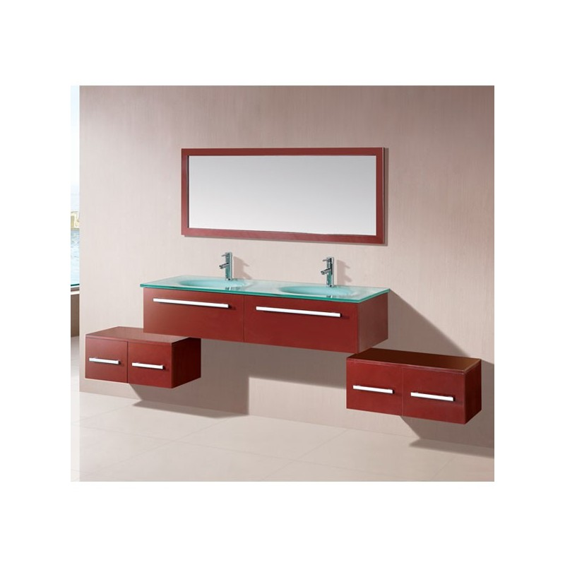 meuble salle de bain coloris rouge cerise r f sd682 2rc. Black Bedroom Furniture Sets. Home Design Ideas