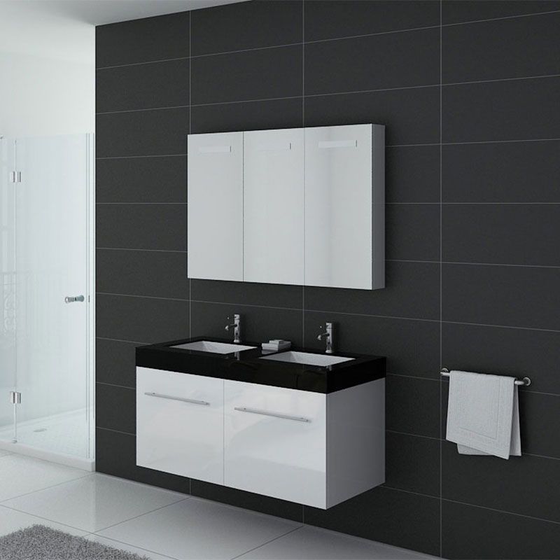 Meuble double vasque ref dis1200b for Salle de bain 1m de large