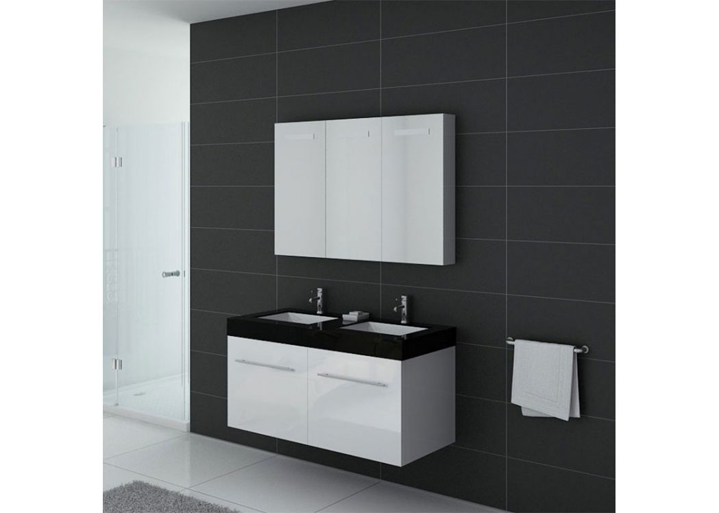Meuble double vasque ref dis1200b for Meuble salle de bain double vasque online
