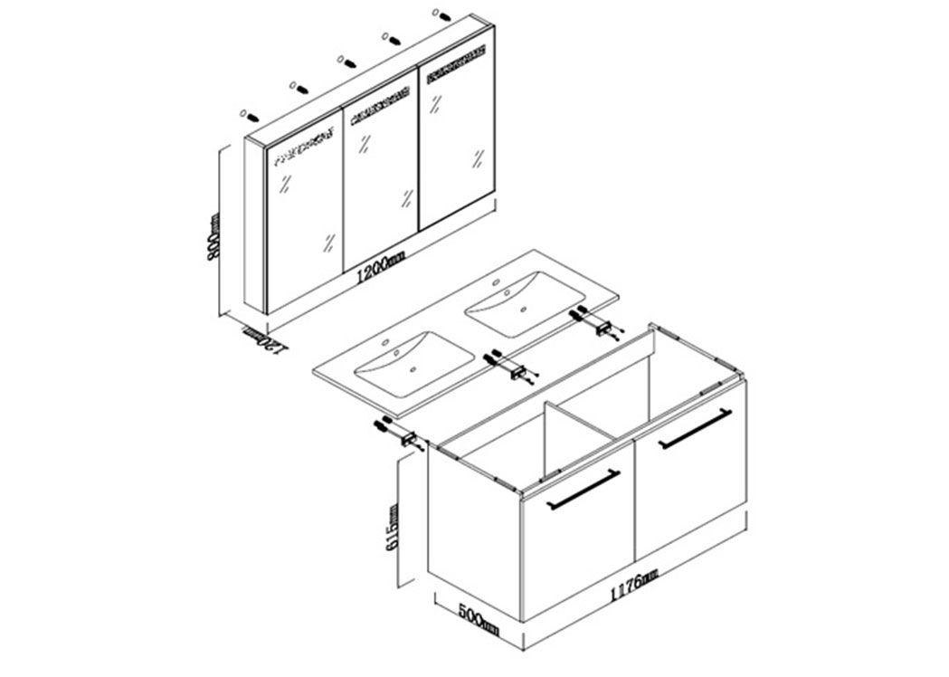 meuble double vasque ref dis1200gt. Black Bedroom Furniture Sets. Home Design Ideas
