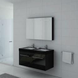 Meuble de salle de bain noir glossy pour déco moderne DIS1200N