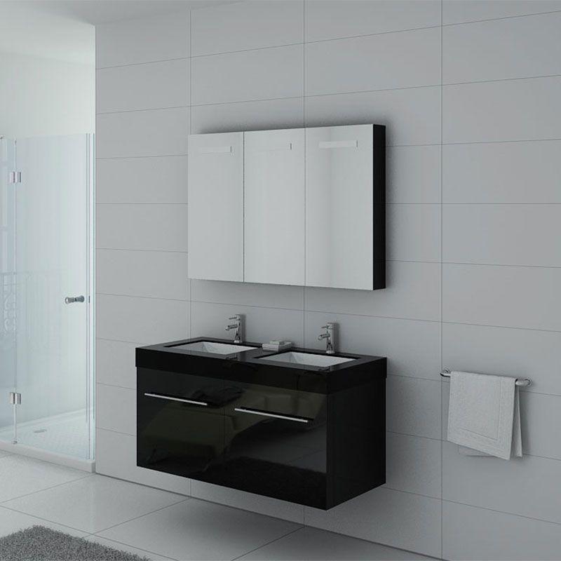 Meuble double vasque ref dis1200n for Double vasque salle de bain noir