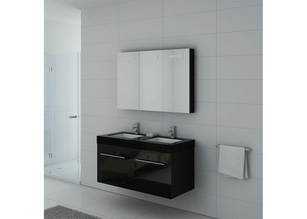 Meuble double vasque ref dis1200n - Meubles salle de bain noir ...