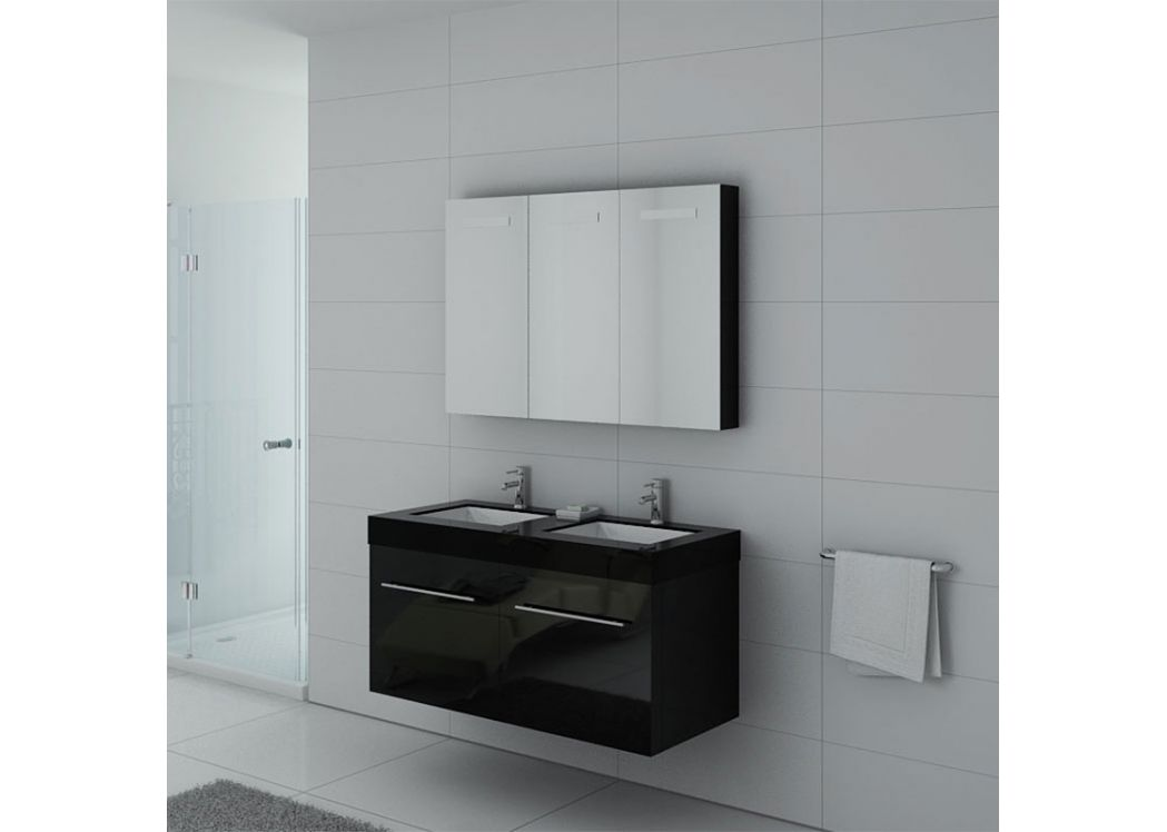 Meuble double vasque ref dis1200n for Meuble salle de bain online