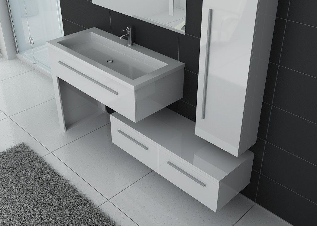 Meuble blanc de salle de bain 1 vasque, meuble blanc de ...