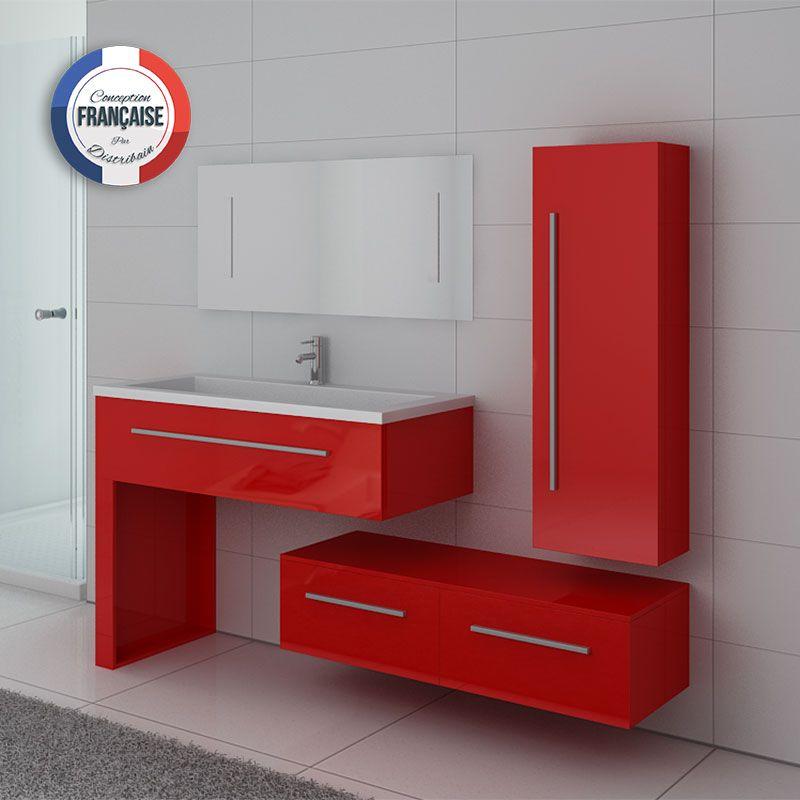 Meuble rouge 1 vasque avec colonne meuble bas et grand miroir DIS9251CO