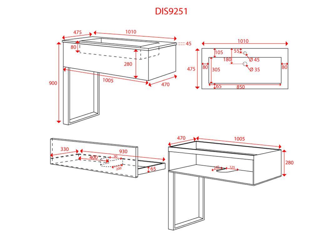 Meuble salle de bain simple vasque noir dis9251n for Dimensions meuble salle de bain