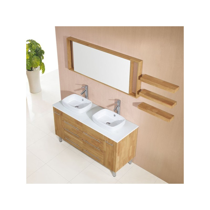 meuble salle de bain de luxe en bois massif ref sd619 41bn coloris bois naturel. Black Bedroom Furniture Sets. Home Design Ideas