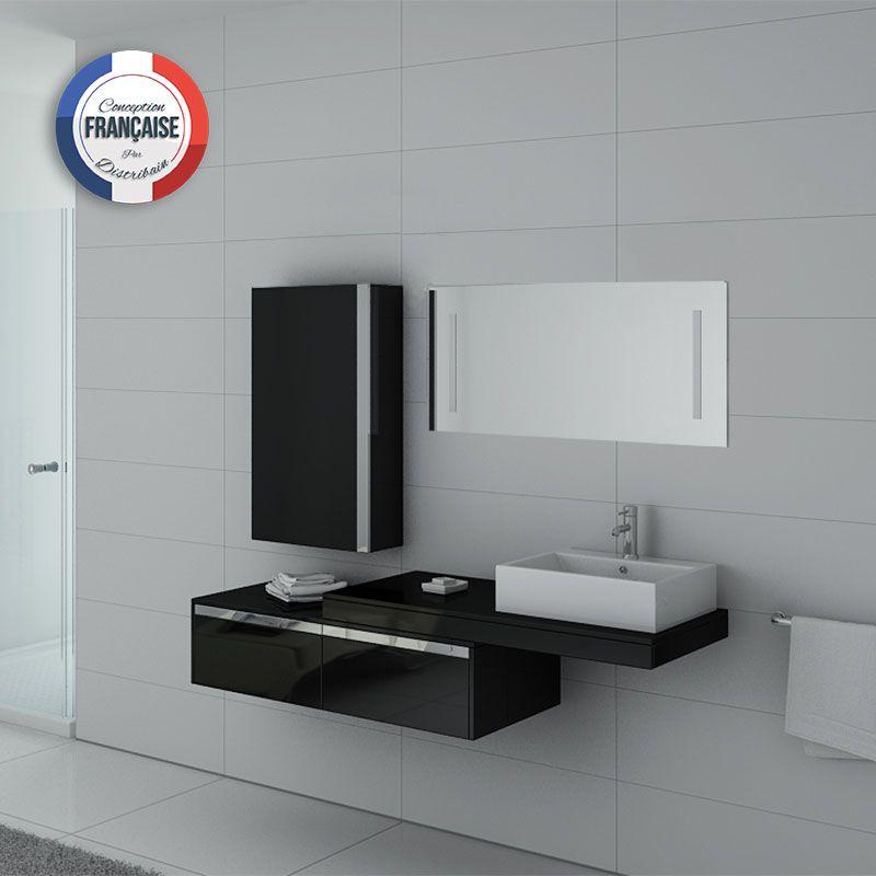 Meuble salle de bain simple vasque DIS9550N Noir