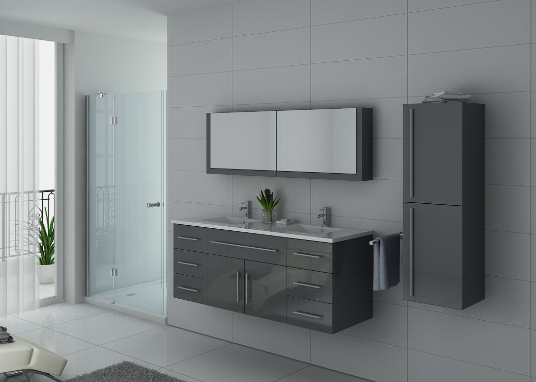 meuble de salle de bain gris double vasque meuble de salle de bain gris dis749gt. Black Bedroom Furniture Sets. Home Design Ideas