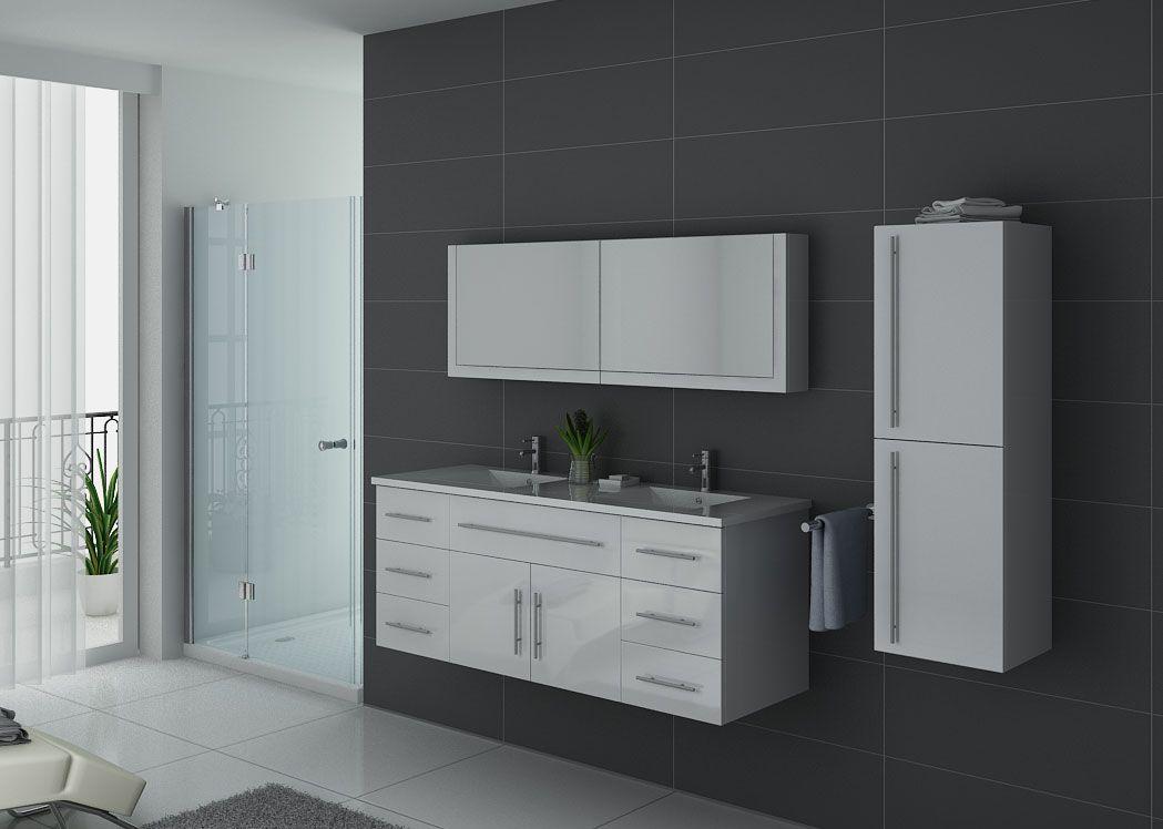 Meuble de salle de bain double vasque blanc dis749b for Meuble salle de bain online