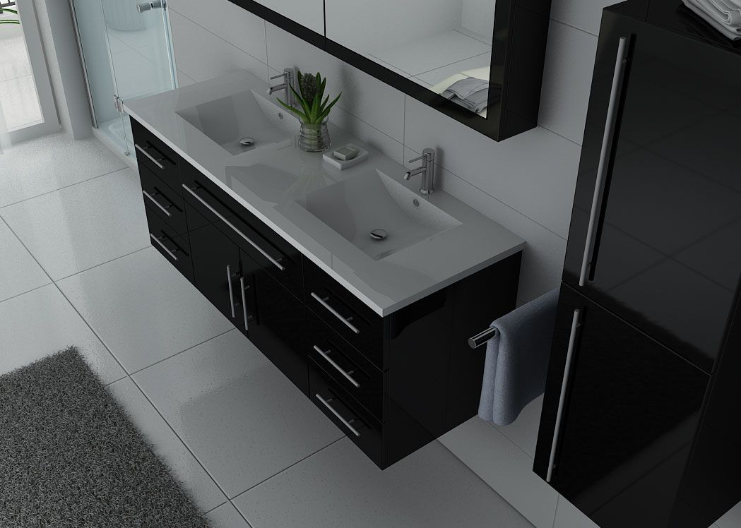 meuble de salle de bain noir laqu brillant meuble 2 lavabos noir laqu dis749n. Black Bedroom Furniture Sets. Home Design Ideas