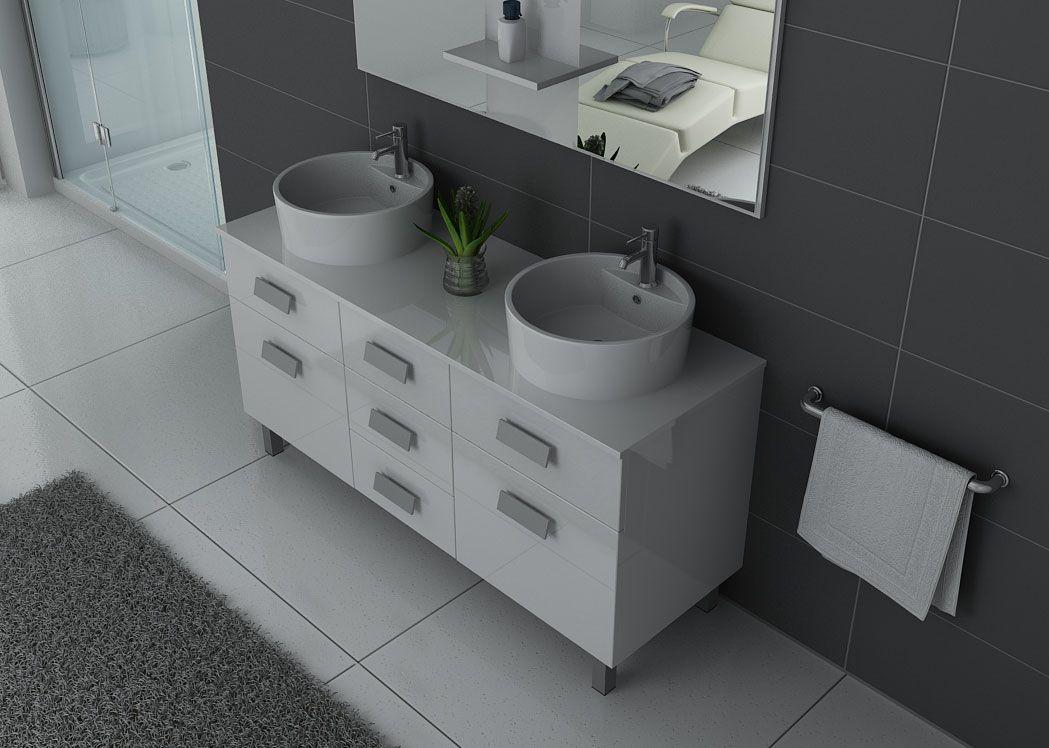 Meuble de salle de bain blanc 2 vasques meuble de salle de bain blanc dis911b - Meuble salle de bain solde ...