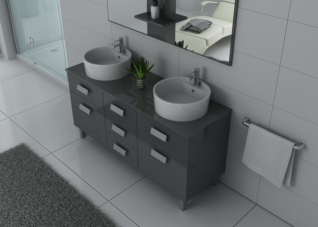meuble de salle de bain gris taupe meuble 2 vasques moderne dis911gt salledebain online. Black Bedroom Furniture Sets. Home Design Ideas