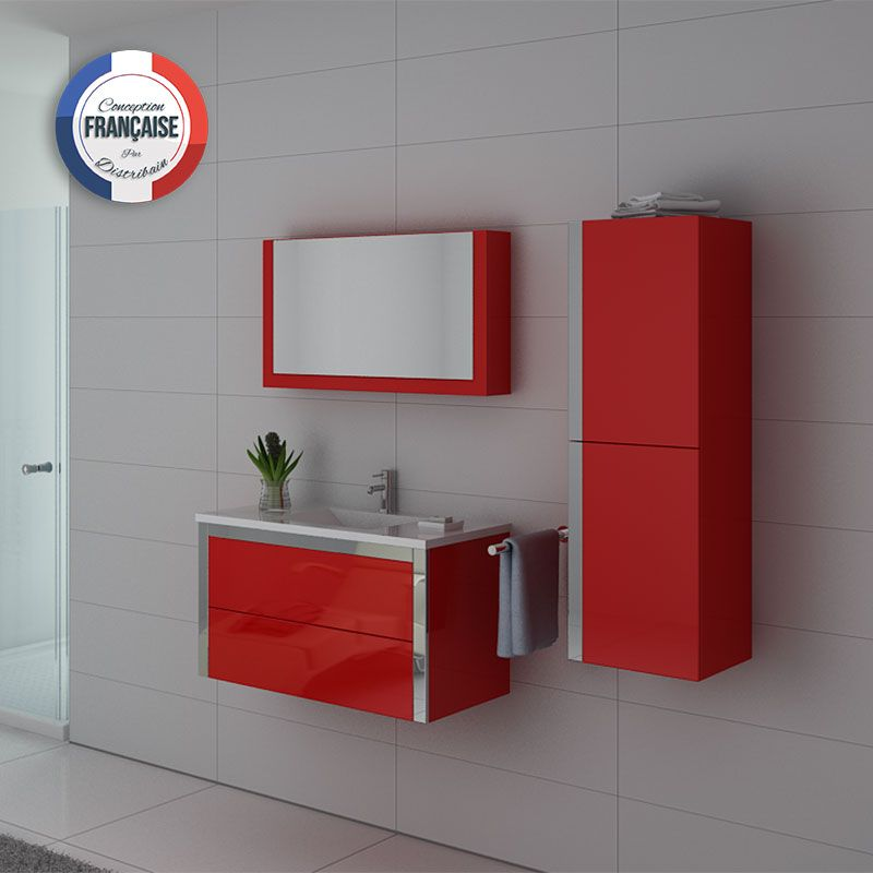 Ensemble de mobilier rouge pour sanitaires simple vasque DIS025-900CO