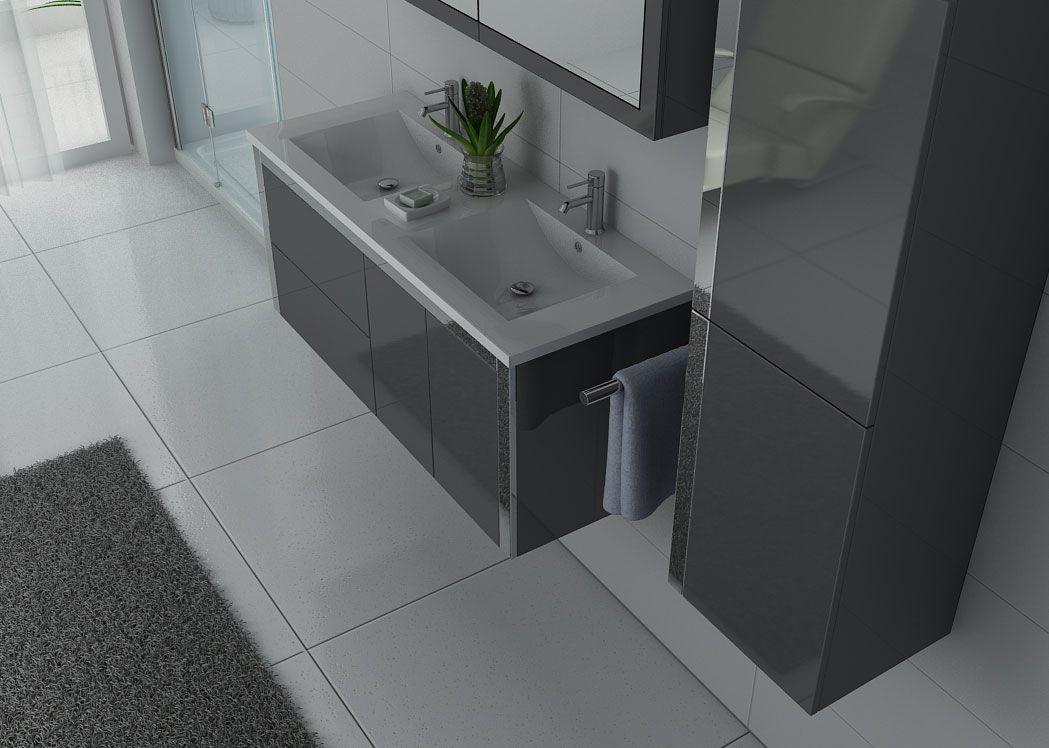 Meuble salle de bain ref dis025 1200gt for Meubles salle de bain gris