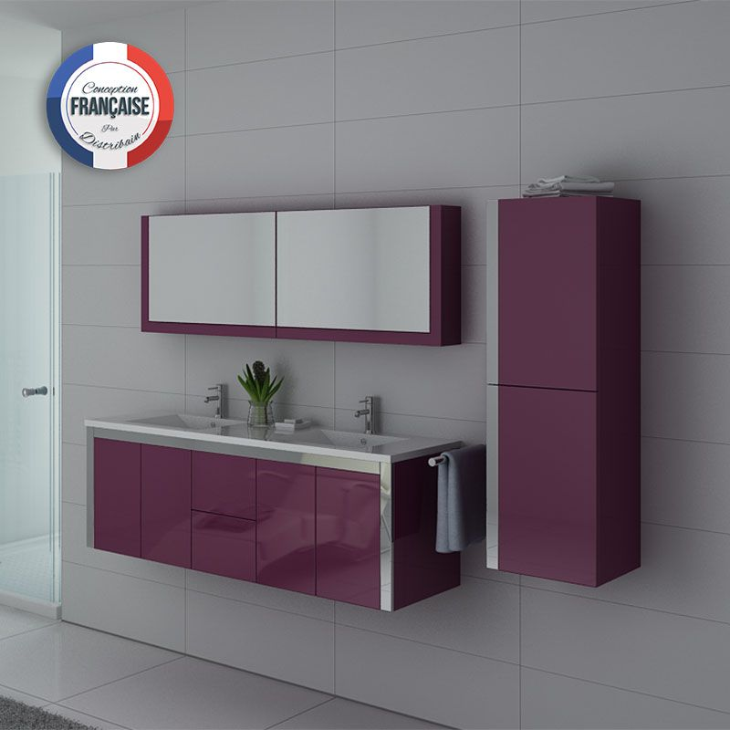 meuble de salle de bain aubergine 2 vasques meuble aubergine dis025 1500au. Black Bedroom Furniture Sets. Home Design Ideas