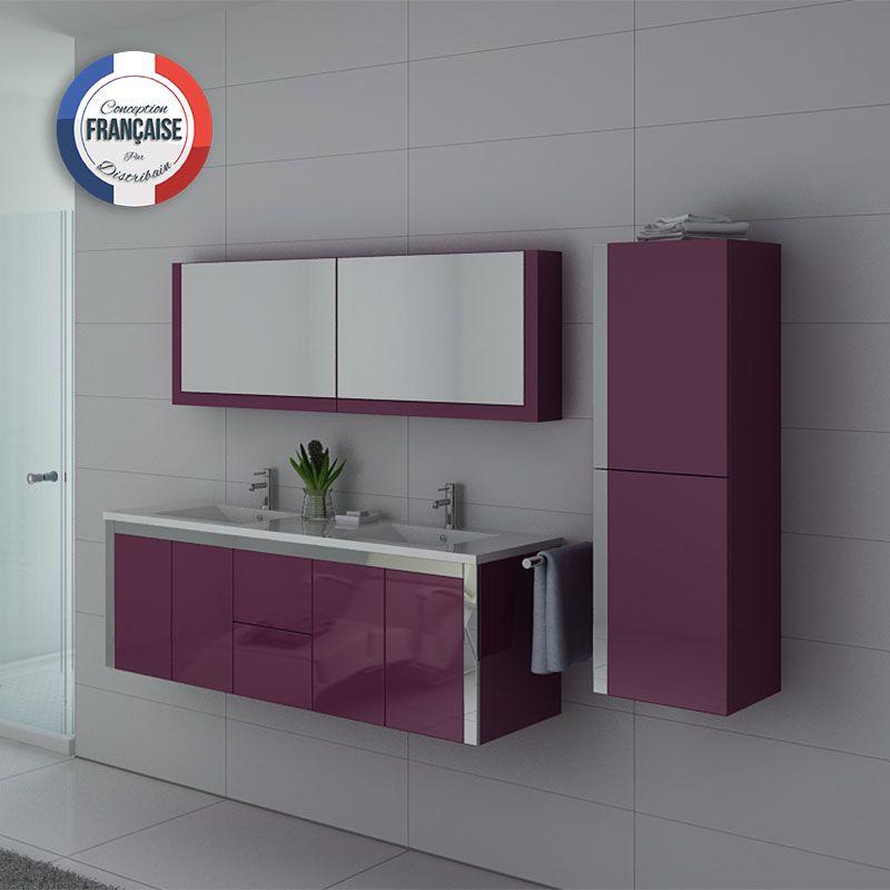 Meuble de salle de bain aubergine 2 vasques meuble - Meuble salle de bain violet ...