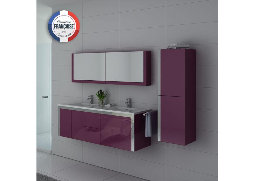 Meuble de salle de bain aubergine 2 vasques meuble for Meuble ameublement