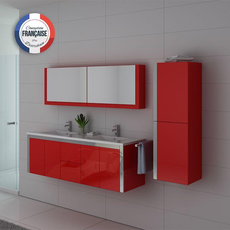 Meuble salle de bain ref dis025 1500b for Meuble double vasque salle de bain rouge