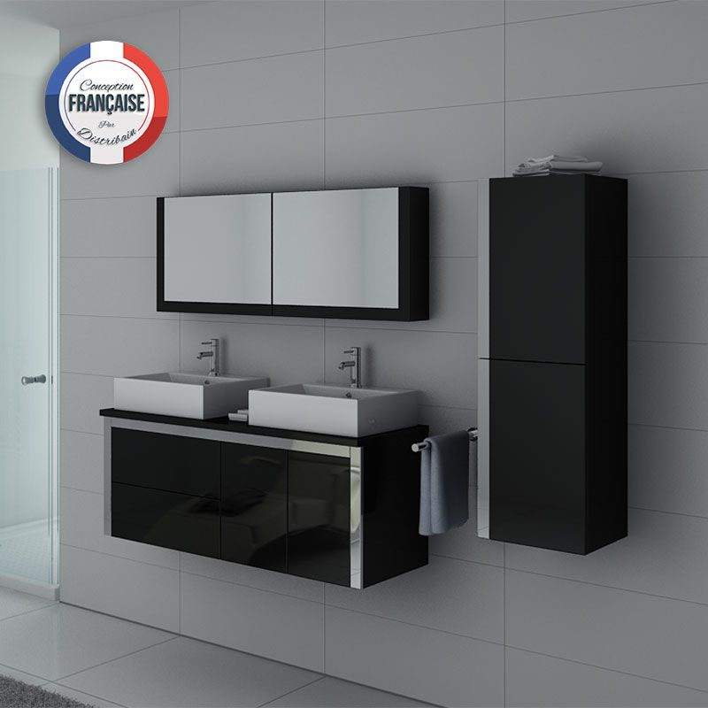 Meuble double vasque DIS026-1300N Noir laqué
