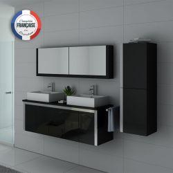 Meuble salle de bain DIS026-1500N Noir double vasque