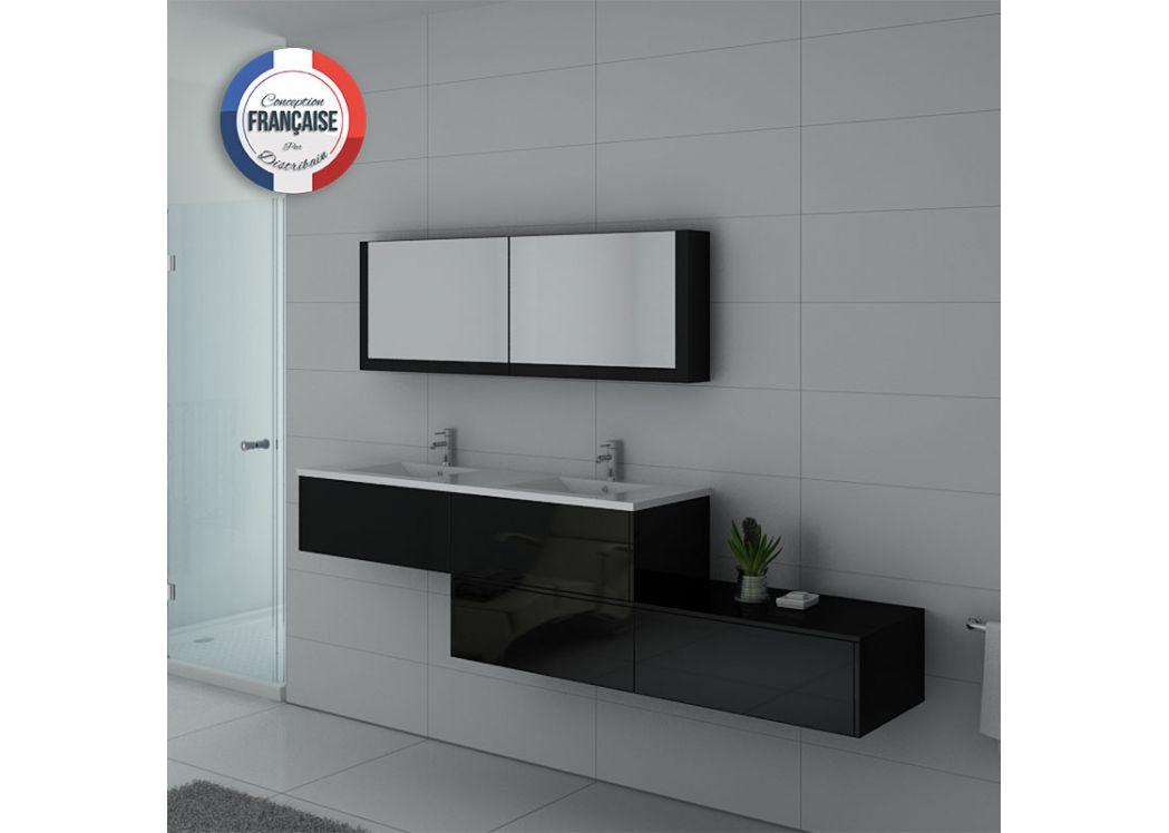 Meuble double vasque ref bellissimo n - Meubles salle de bain noir ...