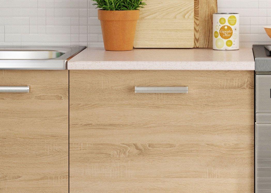 ensemble cuisine luna 2m40 ch ne clair et beige. Black Bedroom Furniture Sets. Home Design Ideas