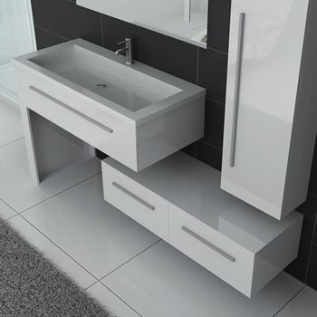 Meuble simple vasque DIS 9251 blanc